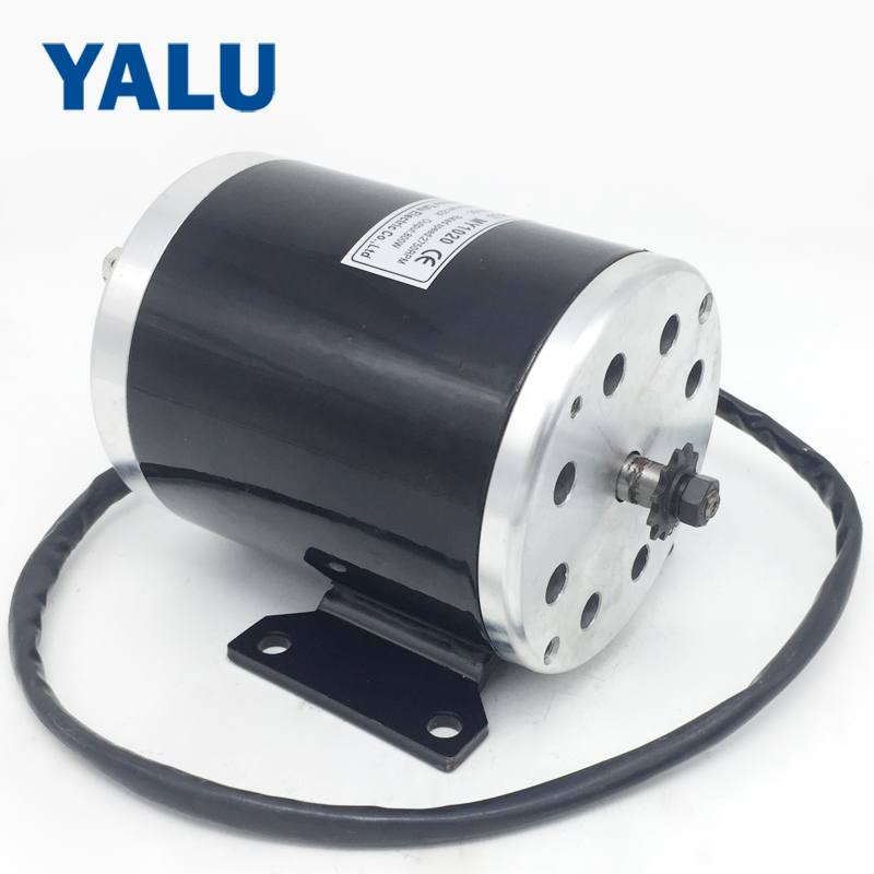 YALU MY1020 800W 36V/ 48V ATV Buggy #25 or T8F sprocket Small electric tricycle E-Scooter DC motor with Mounting bracketYALU MY1020 800W 36V/ 48V ATV Buggy #25 or T8F sprocket Small electric tricycle E-Scooter DC motor with Mounting bracket