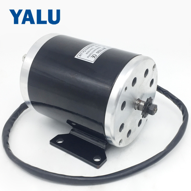 YALU MY1020 800W 36V/ 48V ATV Buggy #25 or T8F sprocket Small electric tricycle E-Scooter DC motor with Mounting bracket