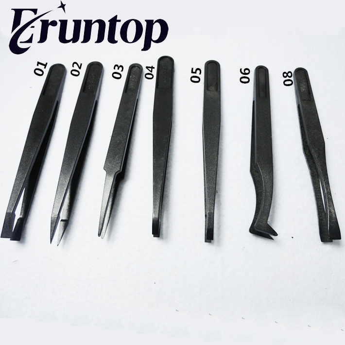 8PCS/Set ESD Carbon Fiber Tweezers Kit Black Plastic Antistatic Tweezers Set Pickup Repair Tool