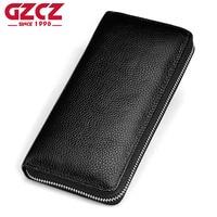 GZCZ 2018 NEW Genuine Leather Men Wallet Male Luxury Brand Multi Card Holder Zipper Coin Purse Fashion Card Walet Portomonee