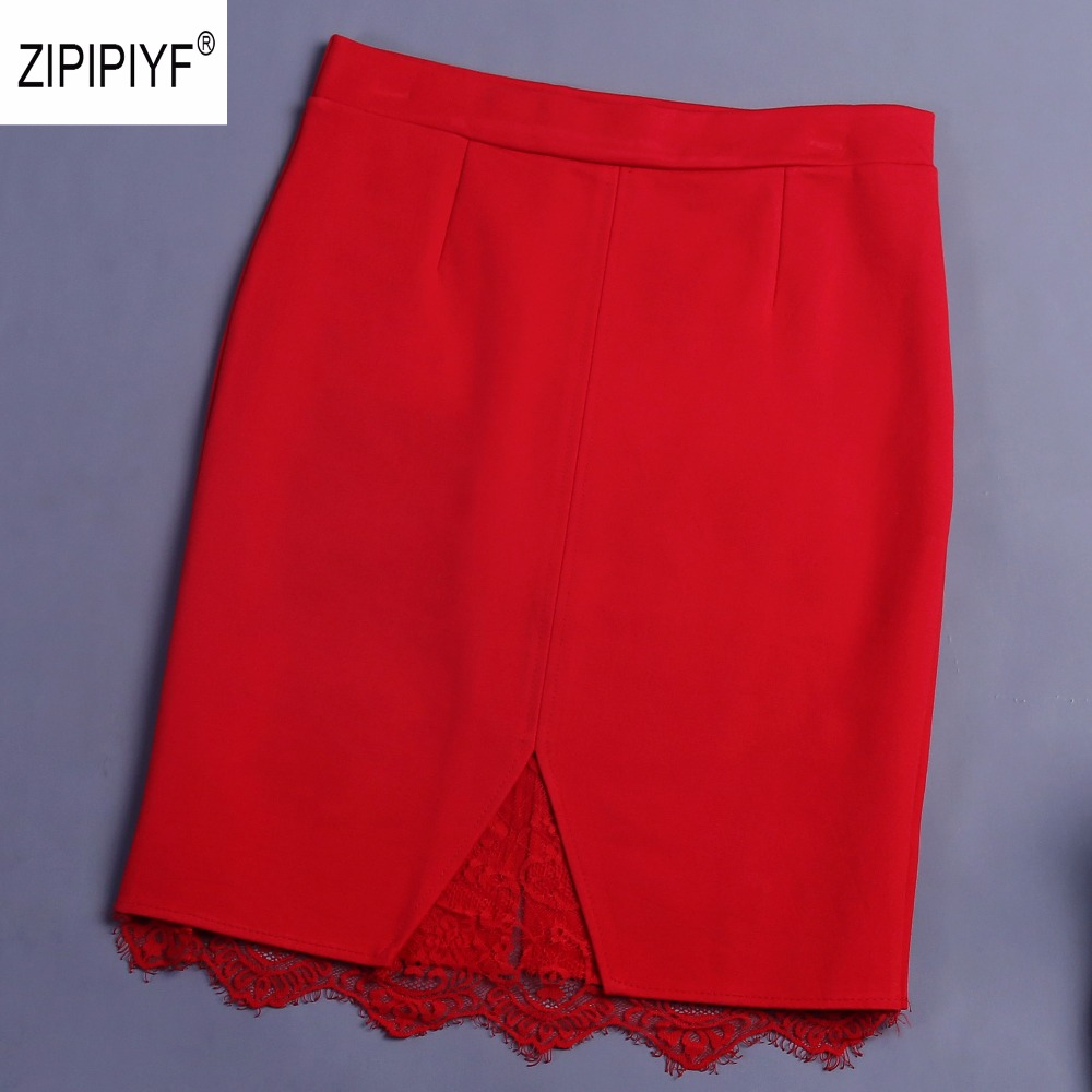 New fashion Women High Waist Slim Pencil Skirts lace patchwork sexy Bodycon wedding party casual Mini