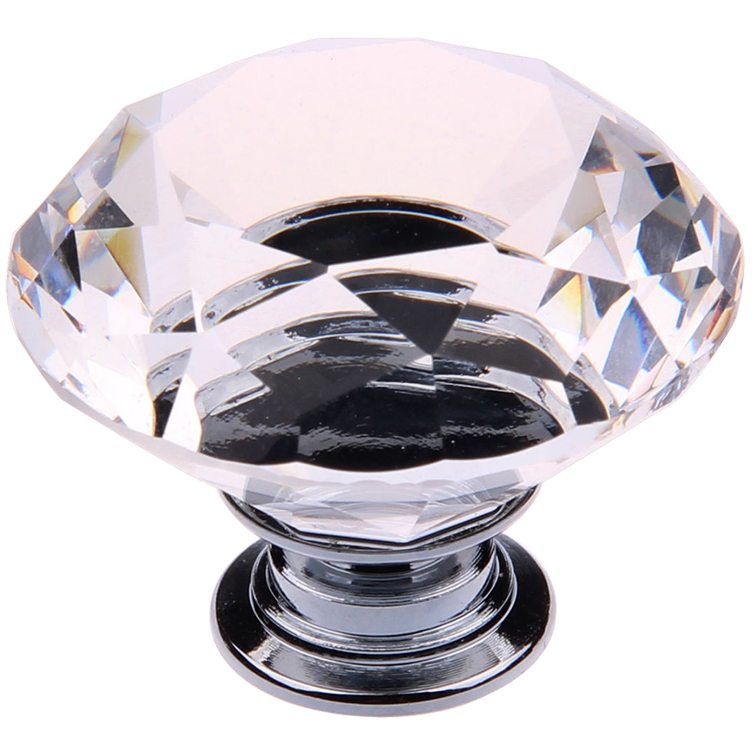 8X 40MM Clear Crystal Glass Door Knobs Handles Diamond Drawer Cabinet Furniture 16x 40mm clear diamond crystal glass door knobs drawer cabinet furniture kitchen