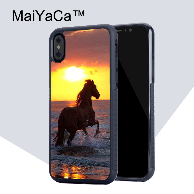 MaiYaCa horses Running at sunset Full Protective Case for iPhone X Case TPU & PC New Back Cover for iPhone X Phone Cover