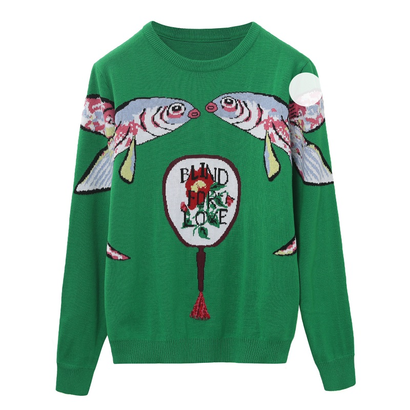 18 Autumn Winter Green Knitted Sweaters and Pullovers Women Runway Designer Double Fish Printed Female Ladies Jumper Clothes 3