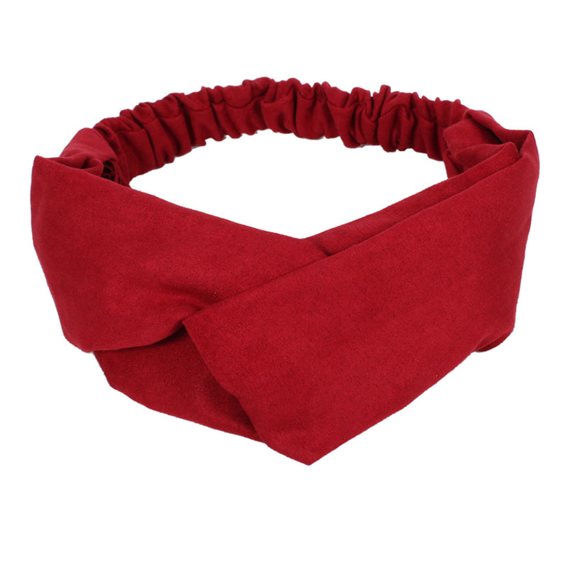 Women Spring Winter Suede Soft Solid Headband Vintage Cross Knot Elastic Hairbands Bandanas Girls Hair Bands Hair Accessories