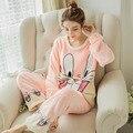 2016 de Coral Polar Pijamas de Las Mujeres Tallas grandes Engrosamiento Lovrly Conejo Párrafo Gruesa Franela Leisurewear Lindo Z50jm Xxl