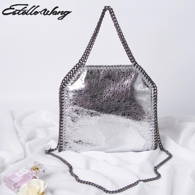 22a2f90fc33e Estelle Wang Fold Over Shoulder Bags Women PVC Leather Crack 3 Chains  Handbag Totes Bolsas Bags