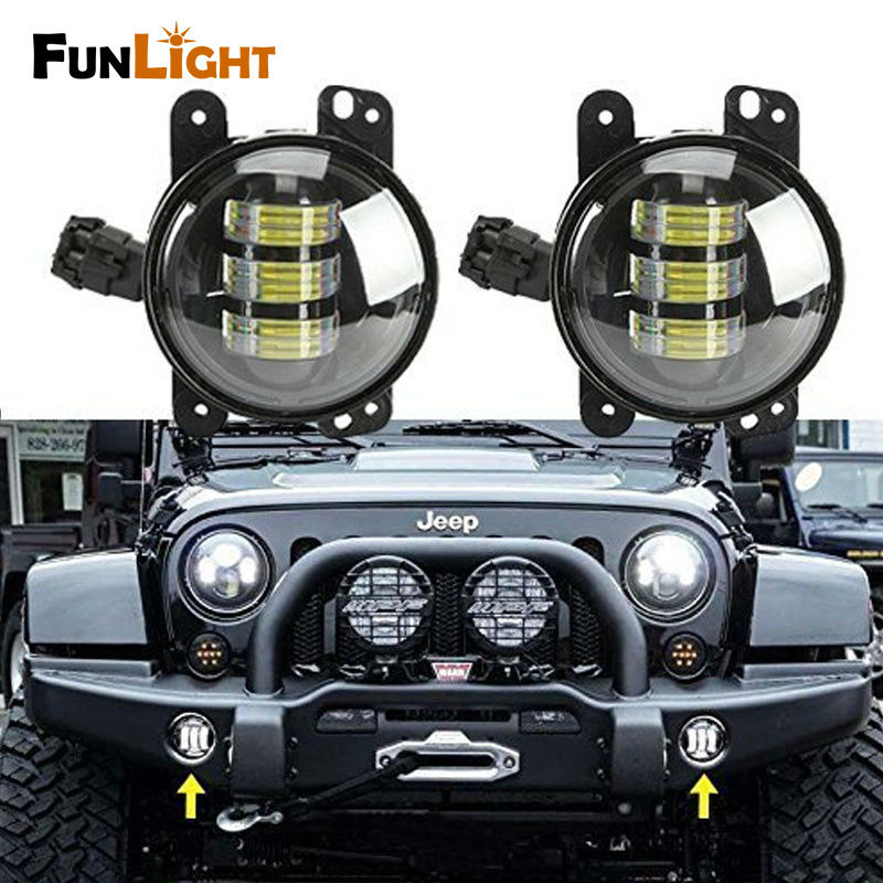 1 Pair hot sale Black 4 inch 30W Front Bumper Led Fog Light For Jeep Wrangler JK 07-15 For Dodge Magnum 05-08 for jeep wrangler jk anti rust hard steel front