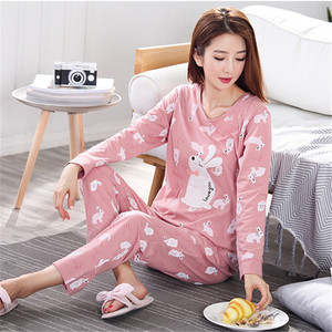 Image 3 - Pyjamas Women 2020 Autumn Long sleeve Cotton Home clothes Women night suit Two Piece plus size Sleepwear Ladies Pajamas Set 5XL