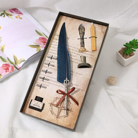 Vintage Fountain Pen feather pen writing ink set stationery business office supplies gift box with 5 Nib wedding gift pen box