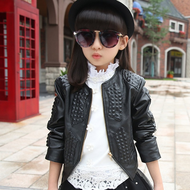 New Autumn Winter Kids Leather Jacket Top Quality Fashion Baby Girl