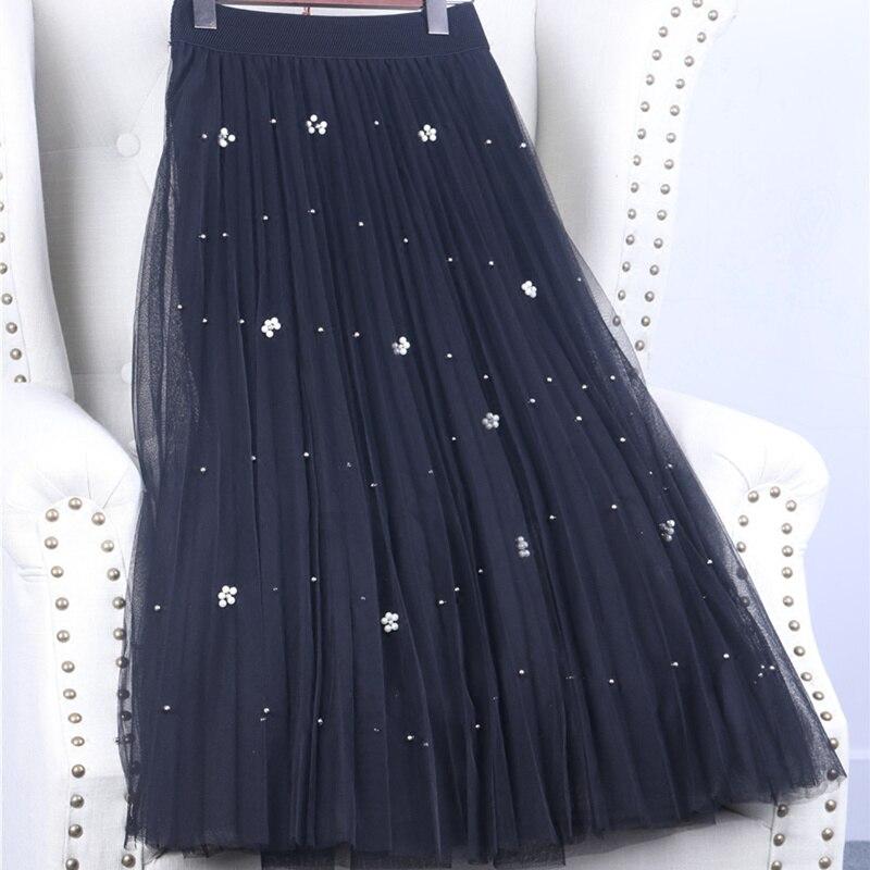 Spring mesh beading network yarn A-line pleated tulle skirt solid color fairy long skirt female high waist falda larga MZ1539