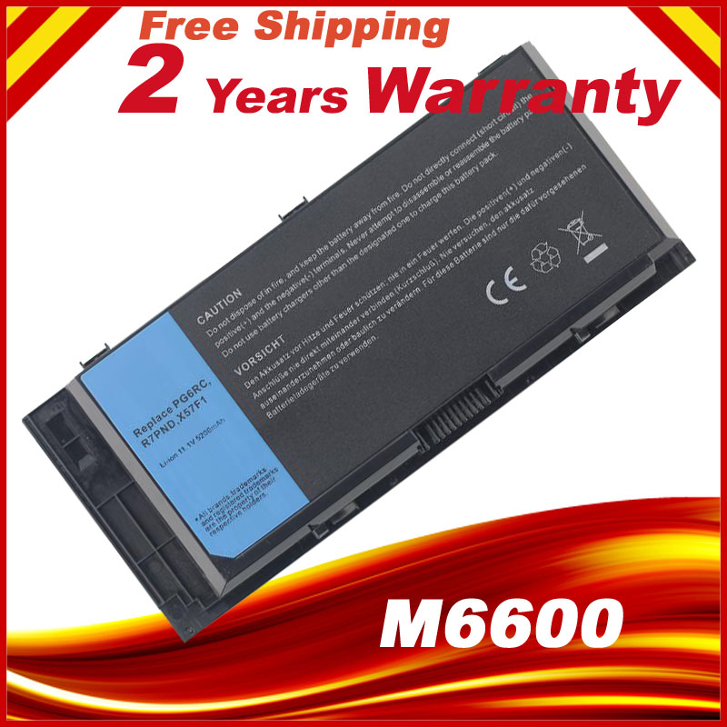 FV993 9GP08 PG6RC X57F1 0TN1K5 3DJH7 Battery Fit  For DELL Precision M4700 M6700 M4600 M6600