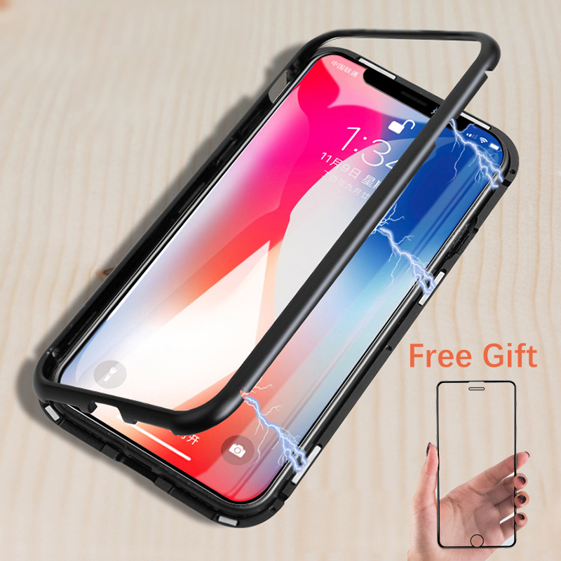 Di lusso Adsorbimento Magnetico cassa del metallo per iphone X iphone 7 8 6 6 s plus xs max xr della copertura di trasporto 9 H temperato protezione dello schermo di vetro