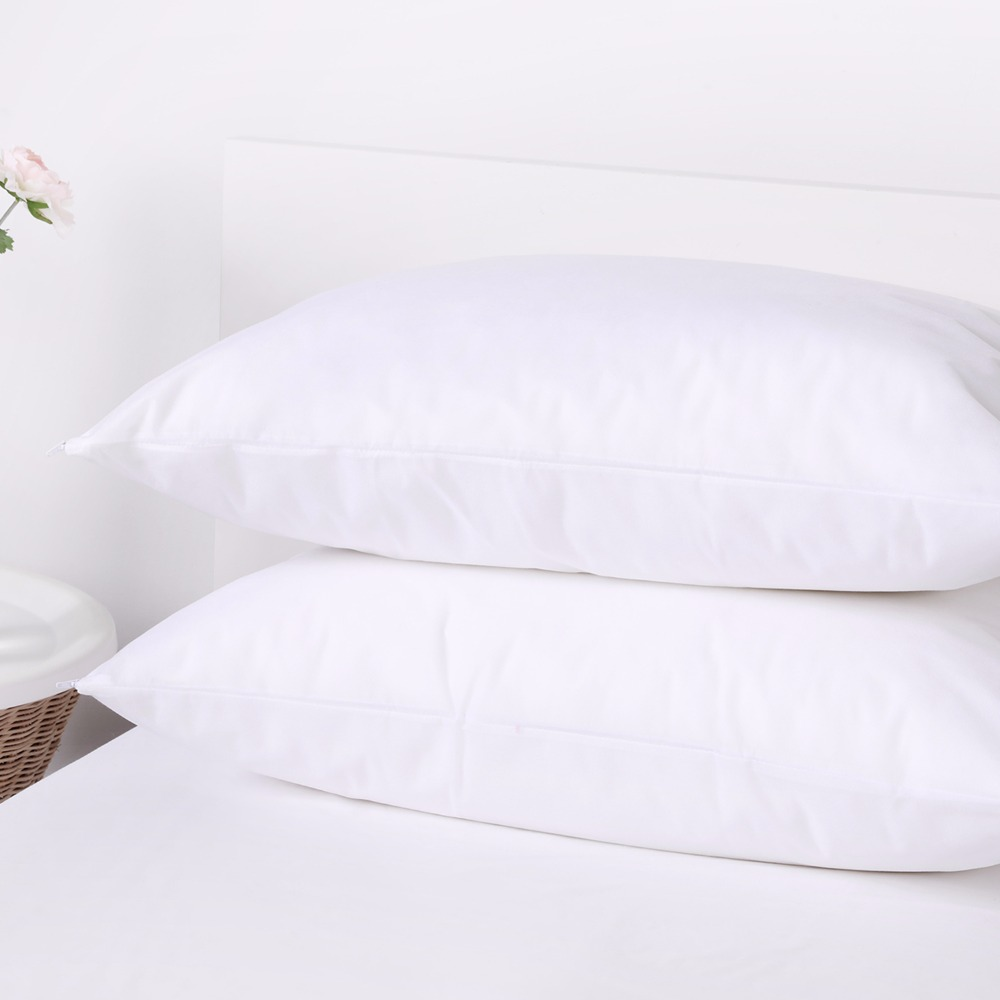 100% Bed Bug & Dust Mite Control Water Stain Resistant Pillow Protector Standard Size Zippered Pillowcase Cover Sham Set Of 2
