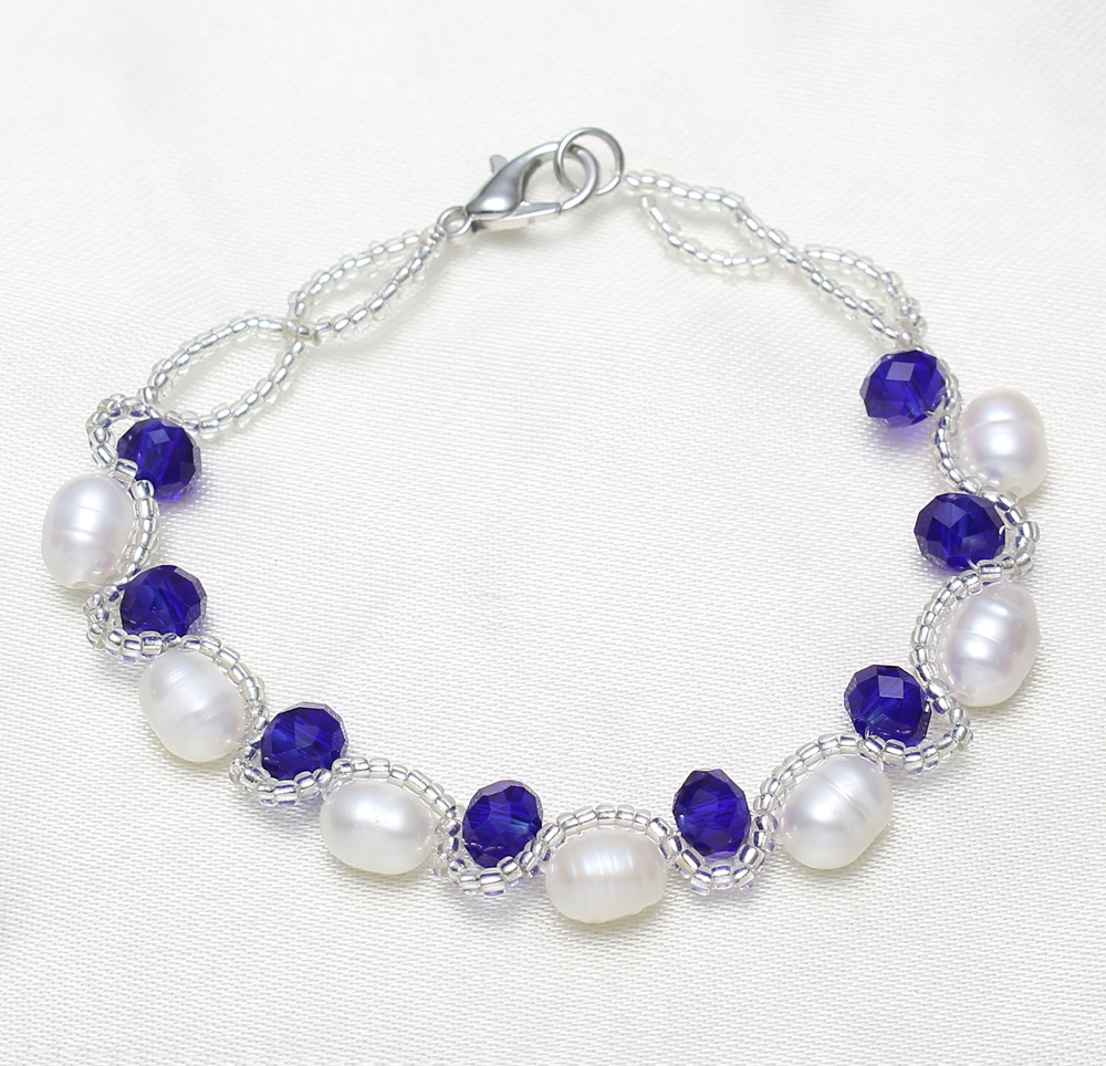 YYW 5-6mm Natural Freshwater Cultured Pearl Bracelet White Rice Pearl Beads with Colored Crystal Beaded Strand Pearl Bracelets