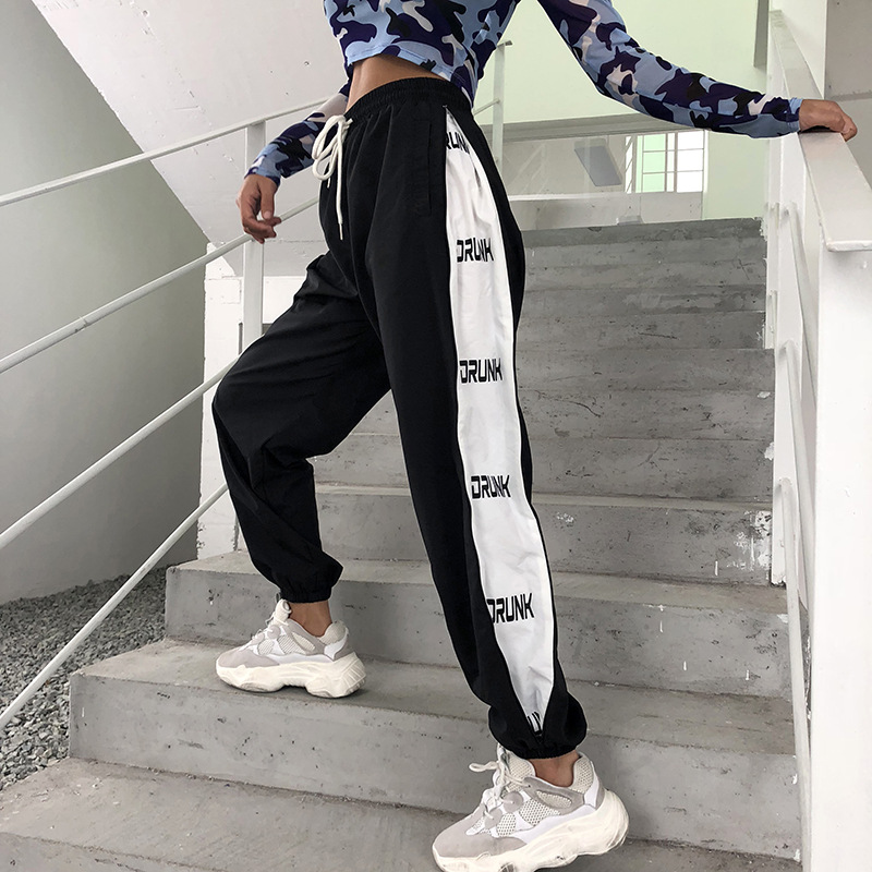 HOUZHOU Sweatpants Women Joggers Hip Hop Pants Women Patchwork Print Bunch Legs High Waist Trousers Hippie Casual Long Pants