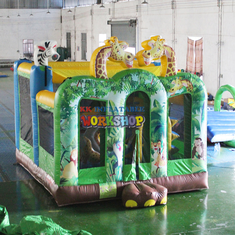 Kids play equipment funny animals forest inflatable bouncy house,commerical jump house with obstacle