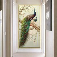 Холст картины caudros decoracion павлин маслом длинный хвост животного огромный размер стены искусства картинки для гостиной стены decor4