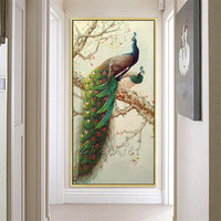 Canvas painting caudros decoracion peacock oil painting long tail animal huge size Wall Art Pictures for living room wall decor4