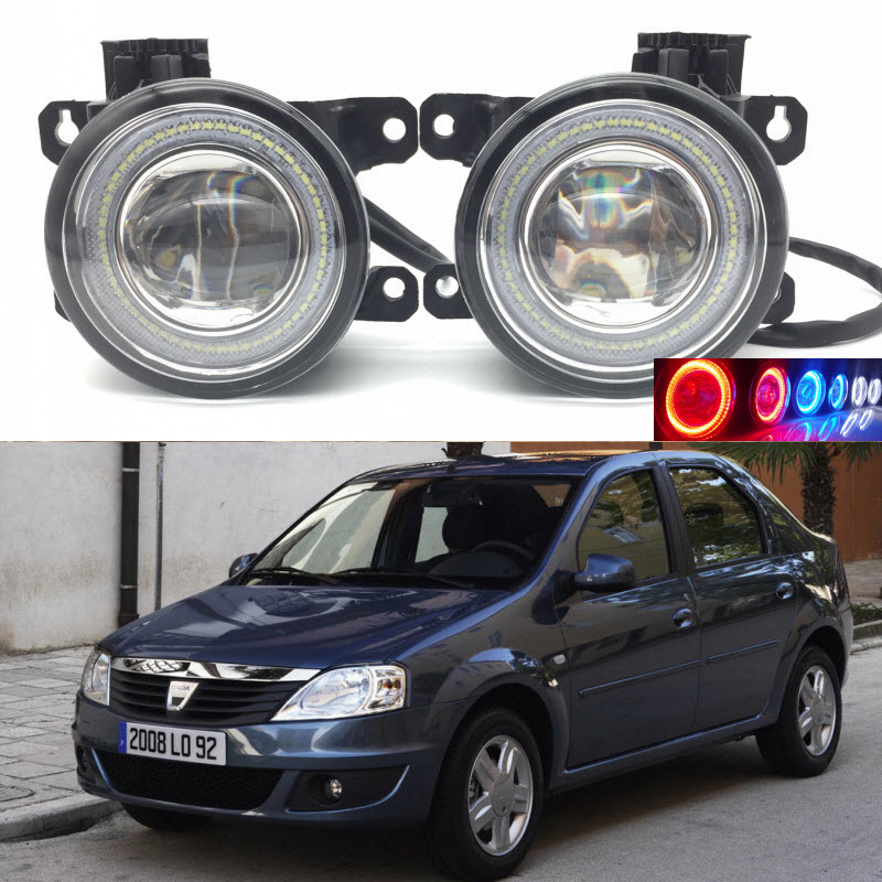 For Dacia Logan I 1 2004-2012 2-in-1 LED 3 Colors Angel Eyes DRL Daytime Running Lights Cut-Line Lens Fog Lights Car Styling car styling 2 in 1 led angel eyes drl daytime running lights cut line lens fog lamp for land rover freelander lr2 2007 2014