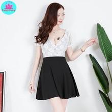 2019 new Korean version of the summer bar female lace black small sexy nightclub v-neck short-sleeved dress