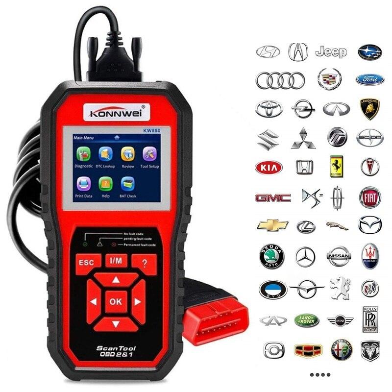 Professional OBD2 Scanner Auto Diagnosis Code Reader Scaner Tools KW850 Automotive code scanner Better AL519 Car-Detector