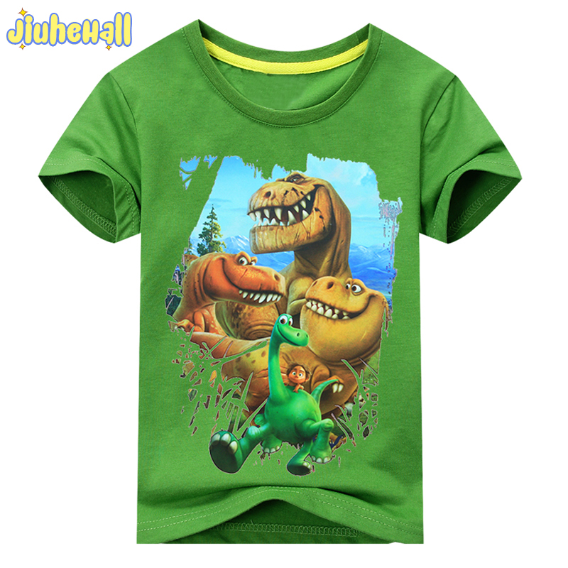 2017 Summer Boy Girl Dinosaur Mønster Kortærmet T-Shirt Kids 100% Cotton White Shirts For Kids Cartoon Print Tøj ACY003