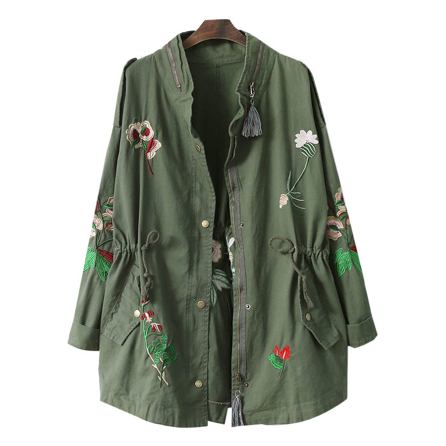 2018 Spring embroidery women's windbreaker with drawstring Army green casual loose jacket coat Fashion windbreakers casaca mujer