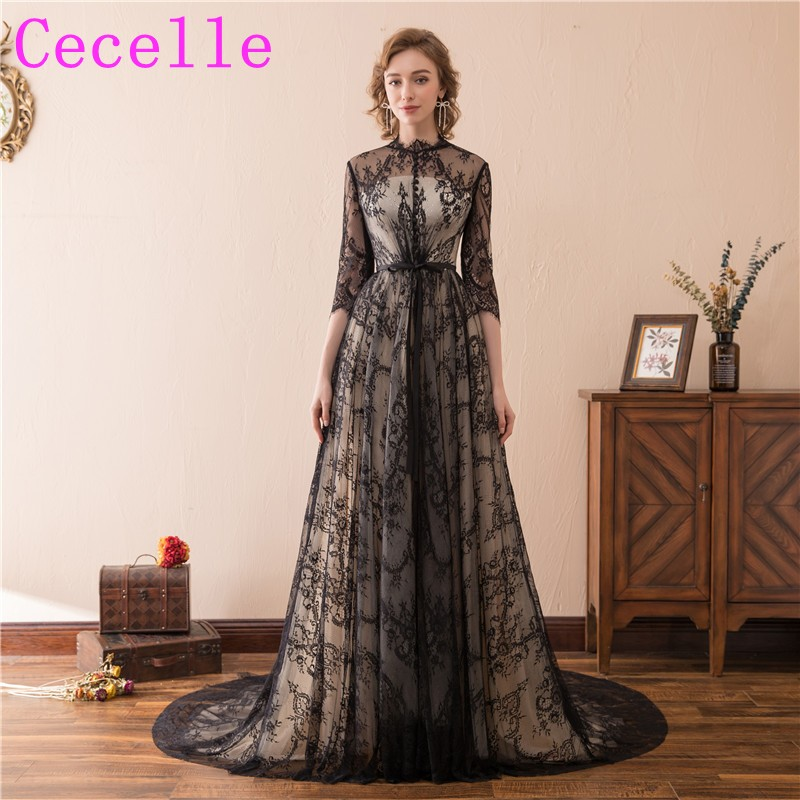 Black gothic wedding dresses with color a line lace for Black and white wedding dresses with sleeves