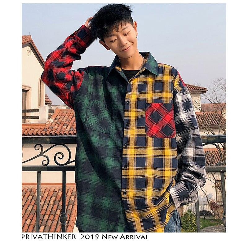 Privathinker Men Streetwear Color Block Plaid Shirts 2019 Mens Loose Cotton Long Sleeve Shirt Men Button Korean Casual Clothes