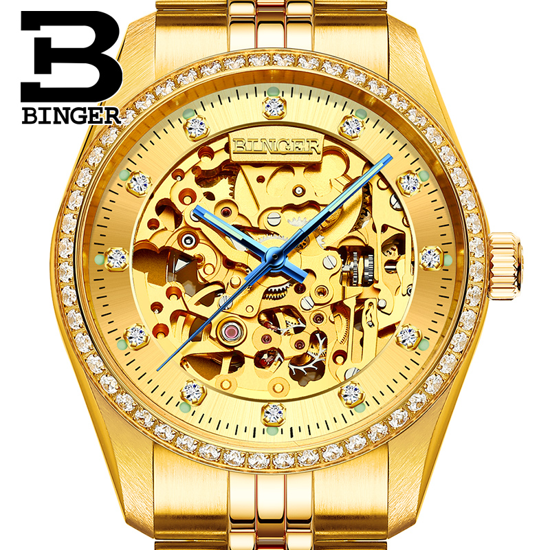 Genuine Luxury Switzerland BINGER Brand Men self-wind automatic mechanical sapphire watch 18K Electrolytic Gold hollow business original binger mans automatic mechanical wrist watch date display watch self wind steel with gold wheel watches new luxury