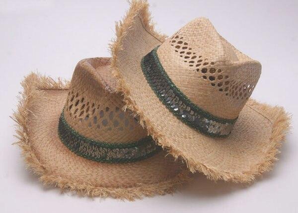c261a1e5106f4 6pcs 2018 Handmade Cowboys Western Summer Cap Natural Raffia Straw Hats for  Men Women Cowgirls Beach Wide Brim Sun Hat Wholesale-in Sun Hats from  Apparel ...