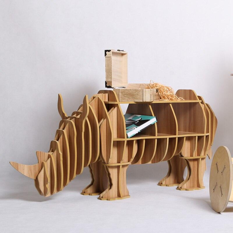 1 Satz Diy Holz Rhinoceros Kreative Tisch Bücherregal Schrank Kunst Wohnmöbel Dekoration Tm003m Feine Verarbeitung