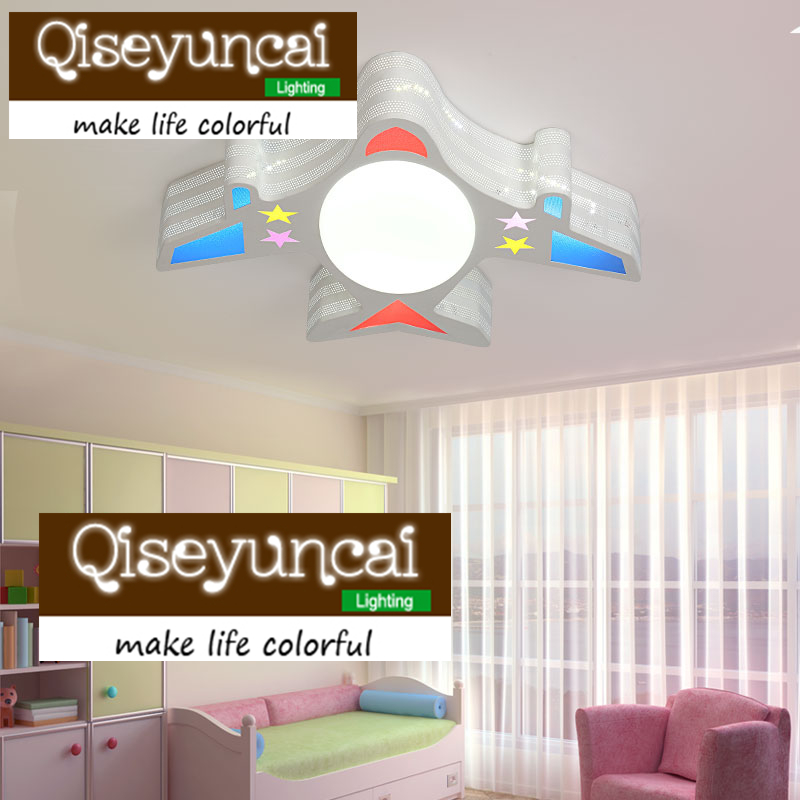 Qiseyuncai Modern minimalist creative children's room cartoon aircraft LED eye-light ceiling lamp warm boy bedroom lighting creative cartoon ceiling lamp smd led electrodeless dimmable air plane shape light study children boy girl room bedroom