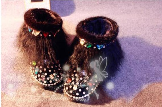 Magic show originele luxe mink fur glas aquarel boor lederen laarzen strand wol snowboots - 4