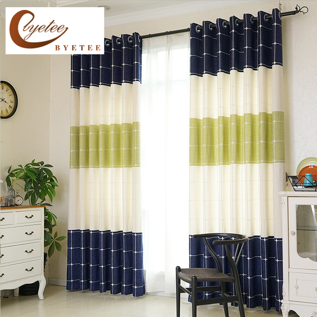 [byetee] Thickened Chenille Plaid Striped Living Room Bedroom Shading  Modern Kitchen Blackout Curtains For
