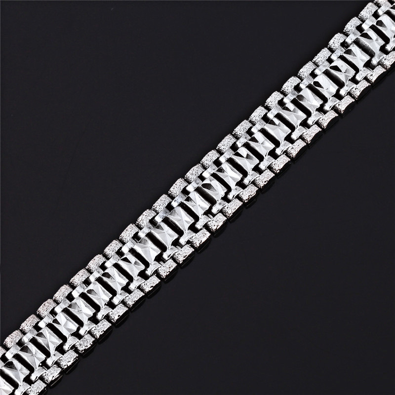 U7 Mens Bracelet Punk Rock Style Black/Silver/Gold Color Big Wide Chunky Chain Link Bracelets Meditation Men Jewelry Gift H550 8
