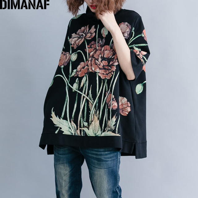 DIMANAF Women Hoodies Sweatshirts Plus Size Tops Black Female Turtleneck Pullover Autumn Thinken Cotton Loose 2018 Print Floral 1