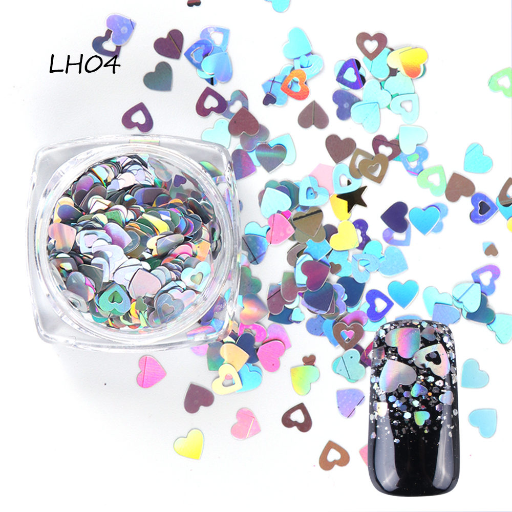 1 Bottle Mixed Laser Colorful Sequins Nail Glitter Thin Metal Hexagon Star Heart Flakes Nail art Manicure Decor LALH01-04 (6)