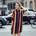 Fashion Women Multicolor Striaped Long Shirt Dress 2017 Summer Dress Elegant Half Sleeve Casual Vestidos Vintage Dresses
