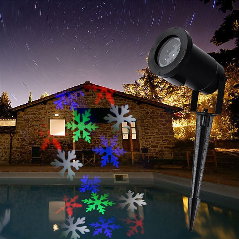 LED RGB Snowflake Projector Light Colorful Christmas Lights Outdoor Waterproof Holiday Party Xmas Tree Garden Show Lighting