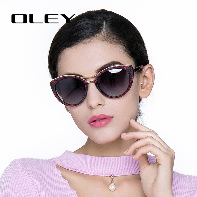 OLEY High Quality Cat Eye Sunglasses Women brand designer Polarized Sun Glasses for woman Driving goggles gafas zonnebril dames
