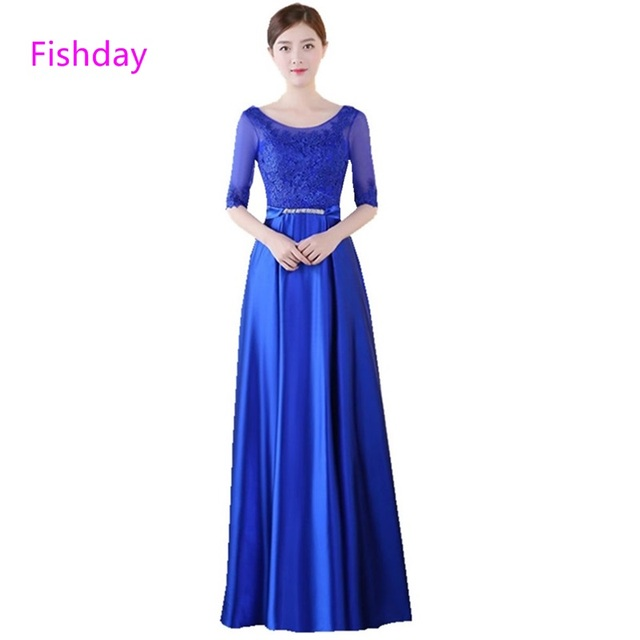 Fishday Long Ladies Half Sleeve Lace Gold Blue Chiffon A Line Satin