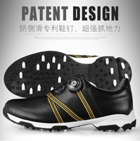 גברים אוטומטיים בואה-השכבה ראשונה תחרה עור עמיד למים לנשימה נעלי ספורט עיצוב פטנט נגד החלקה אחיזה טובה זכר נעלי גולף