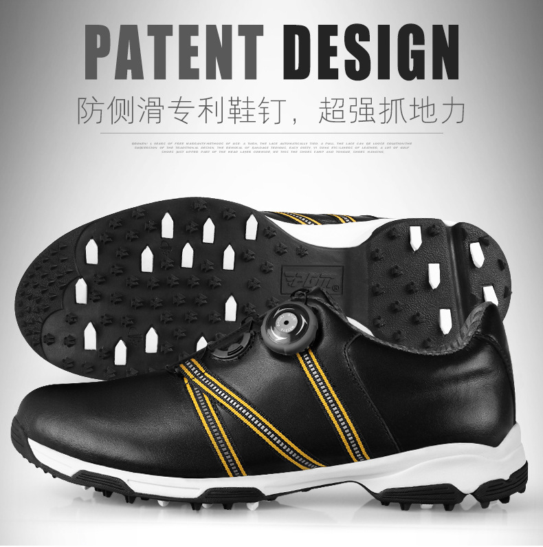 men automatic BOA-lace first layer leather waterproof breathable anti-skid patent design sport shoes good grip male golf shoes pgm authentic golf shoes men waterproof anti skid high quality male sport sneakers breathable shoes