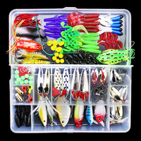 141pcs/set Fishing Lures Kit Mixed Metal Spoon Hard Soft Bait Minnow Crank Popper VIB Sequins Wobbler Frog Lure with Tackle Box