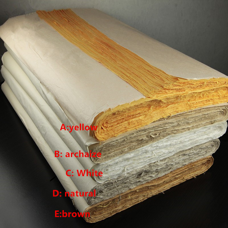 Chinese Painting Rice Paper Half-raw Sketch Paper Four Feet Calligraphy Painting Handmade Packing Paper 138 * 70CM High Quality