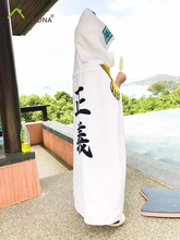 HAKOONA Children One Piece Justice Chinese White Hooded Towels Cotton Soft Bathrobes Swimming Absorbent White Poncho 98*80cm