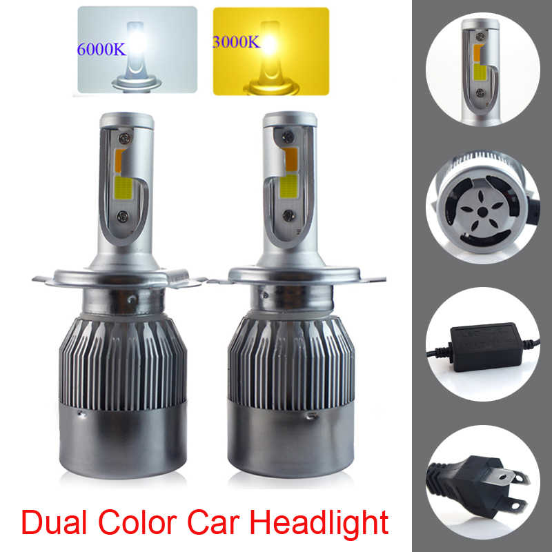 New Design  Dual Color Tricolor Car LED Headlight Bulbs H4 H13 9004 9007 72W 7600LM 3000K 6000K Good Quality 2-Colors